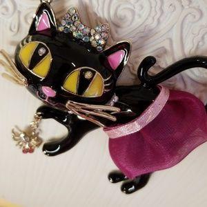 Betsey Johnson black cat necklace